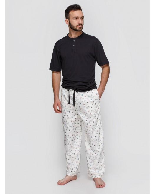 Пижама мужская Cyberjammies Aspen 6328/6326 Черно-молочный с принтом лыжника
