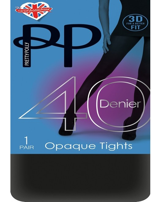 Колготки Pretty Polly 40 Denier 3D Opaque Tights PNAVA3 Black